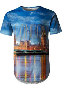 Camiseta Longline Over Fame Londres Azul