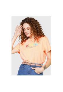 Camiseta Colcci Lettering Neon Laranja