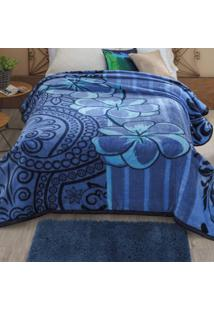 Cobertor Casal Dyuri Nuria 1 Peça Microfibra Jolitex Azul