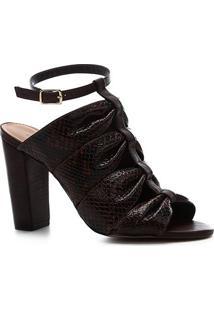 Sandália Shoestock Salto Bloco Couro Snake Drapeado - Feminino-Marrom