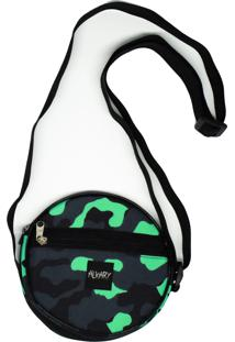 Bolsa Pequena Redonda Alkary Camuflada Verde Agua