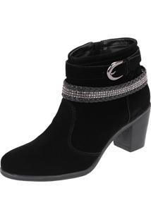 Bota Feminina Ankle Boots Cano Médio Camurça Preta