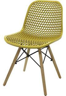 Cadeira Rock Polipropileno Amarelo Ocre Base Madeira - 47893 - Sun House