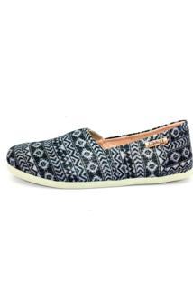 Alpargata Quality Shoes Étnico Brilho Feminina - Feminino-Azul