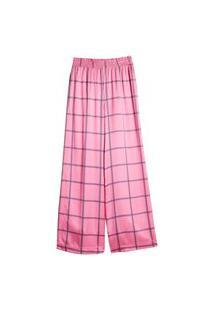 Calca Pantalona Xadrez Casual Eva Rosa