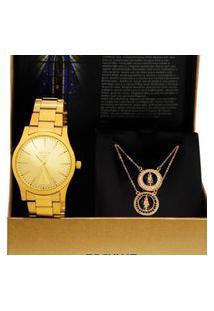 Kit Relógio Feminino Analógico Dourado Seculus - 20981Lpskda1K1 Dourado
