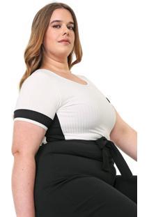 Blusa Lnd Lunender Mais Mulher Plus Canelada Branca/Preta