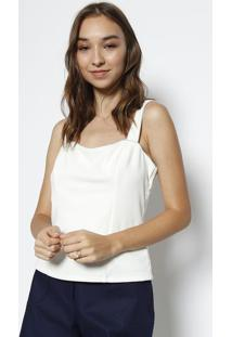 Blusa Cropped Com Pespontos - Off White & Preta - Mimiliore