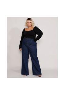 Calça Jeans Feminina Plus Size Mindset Wide Rio Cintura Super Alta Azul Escuro