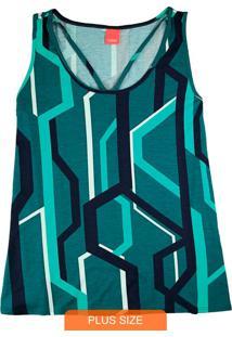 Blusa Verde Strappy Gráfica