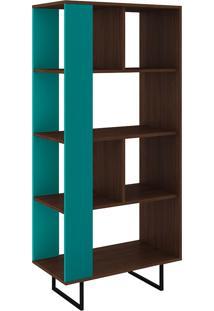 Estante Para Livros Com Abertura Lateral Rt 3054 Castanho/Turquesa - Móvel Bento