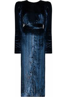 Rotate Vestido Midi Barbara De Veludo E Lurex - Azul