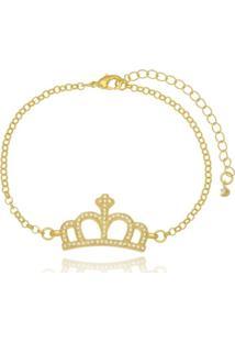 Pulseira P.R.A. Folheados Coroa Cravejada De Micro Zircônias Dourado