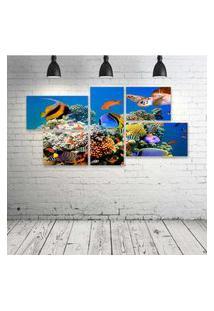 Quadro Decorativo - Underwater-World-Fish-Turtles-Corals - Composto De 5 Quadros