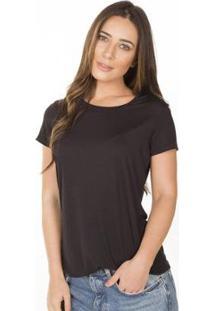 Camiseta Cora Básico Decote Redondo Modal Feminina - Feminino-Preto