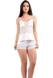 Pijama Short Doll Baby Doll Imi Lingerie Em Microfibra E Renda Lina Feminino - Feminino-Branco