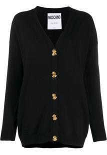Moschino Button-Down Fine Knit Cardigan - Preto