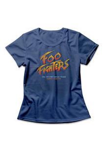 Camiseta Feminina Foo Fighters Azul
