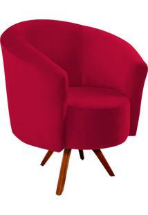 Poltrona Decorativa Angel Suede Vermelho Com Base Giratória Madeira - D'Rossi