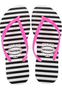 Sandália Havaianas Slim Retrô Feminina - Feminino-Branco+Pink