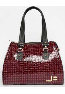 Bolsa Em Couro Texturizada Com Tag - Vermelha & Preta