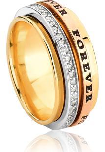 Aliança De Ouro 18K Forever Ouro Branco,Rosê,Amarelo Com Diamantes
