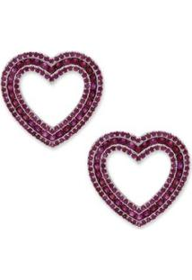 Brinco Coração Cravejado Com Zircônias - Feminino-Pink