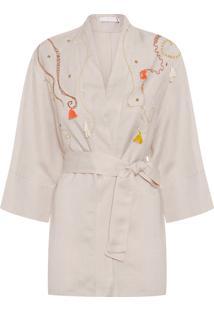 Kimono Feminino Bordado - Bege