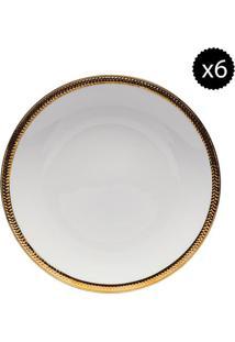 Jogo De Pratos De Jantar- Branco & Dourado- 6Pçswolff