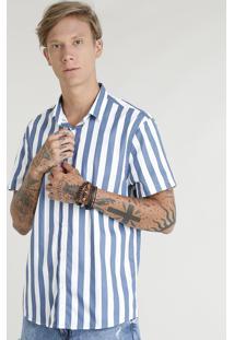 Camisa Masculina Listrada Manga Curta Branca