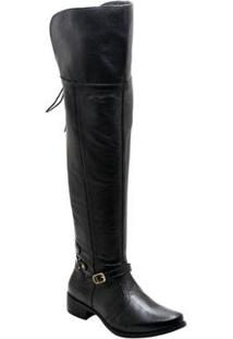 Bota Over The Knee Couro D&R Shoes Feminina - Feminino-Preto