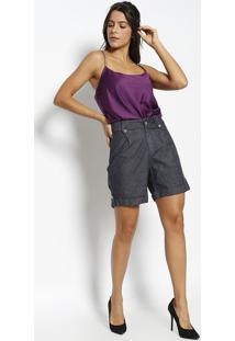 Bermuda Jeans Com Pregas - Azul Escuroênfase