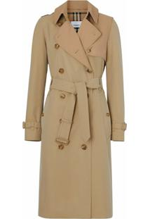 Burberry Trench Coat Gabardine Bicolor De Algodão - Neutro