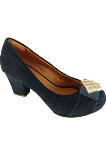 Scarpin Sapatoweb Confort Camurça Feminina - Feminino-Marinho