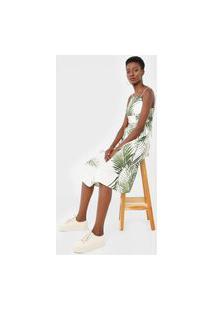 Vestido Linho Osklen Midi Fresh Breeze Off-White/Verde