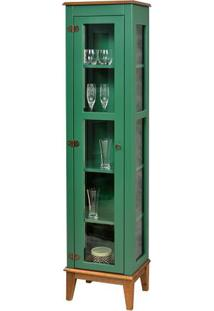 Cristaleira Remy 1 Porta Cor Verde Com Base Amêndoa 180 Cm - 62965 - Sun House