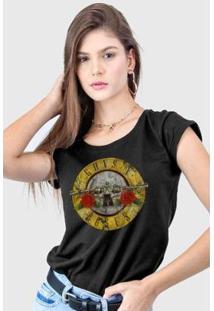 Camiseta Bandup! Guns N' Roses Logo Bullet Feminina - Feminino-Preto