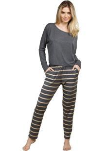Pijama Inspirate Inverno List Feminino - Feminino-Cinza+Dourado