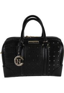 Bolsa Nicole Lee Lydia Laser Cut Boston Preto
