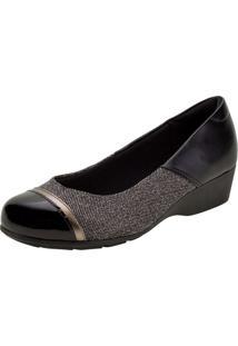 Sapato Feminino Anabela Modare - 7014263 Preto/Cinza 34