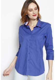 Camisa Lisa Com Botãµes- Azul Royal- Dbz Jeansdbz Jeans