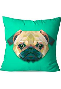 Capa De Almofada Avulsa Decorativa Bulldog Geométrico 45X45Cm