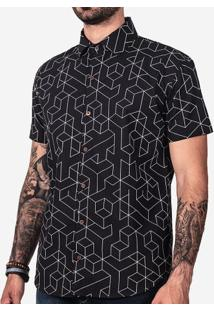 Camisa Geométrica Preta 200088