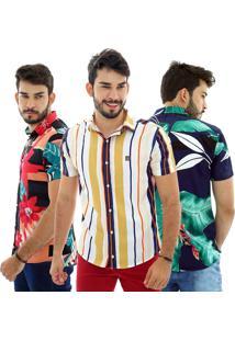 Kit Com 3 Camisas Estampadas Manga Curta Bamborra