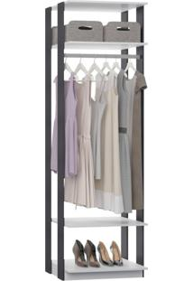 Módulo Closet Com Cabideiro 2 Prateleiras Clothes Be Mobiliário Branco/Espresso