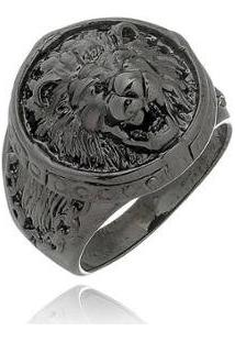 Anel W.Buscatti Lion Black Masculino - Masculino-Preto