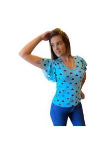 Blusa Feminina T-Shirt Estampada Básica Com Babado