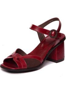 Sandalia Vermelha Em Couro Feminina - Amora / Sued Cafe 7431 - Vermelho - Feminino - Dafiti