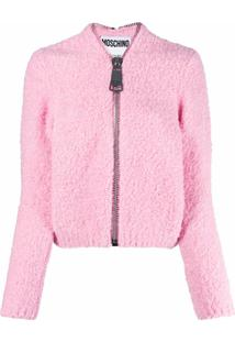 Moschino Brushed Oversized Zipper Cardigan - Rosa