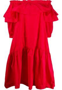 P.A.R.O.S.H. Vestido Reto Com Babados - Vermelho